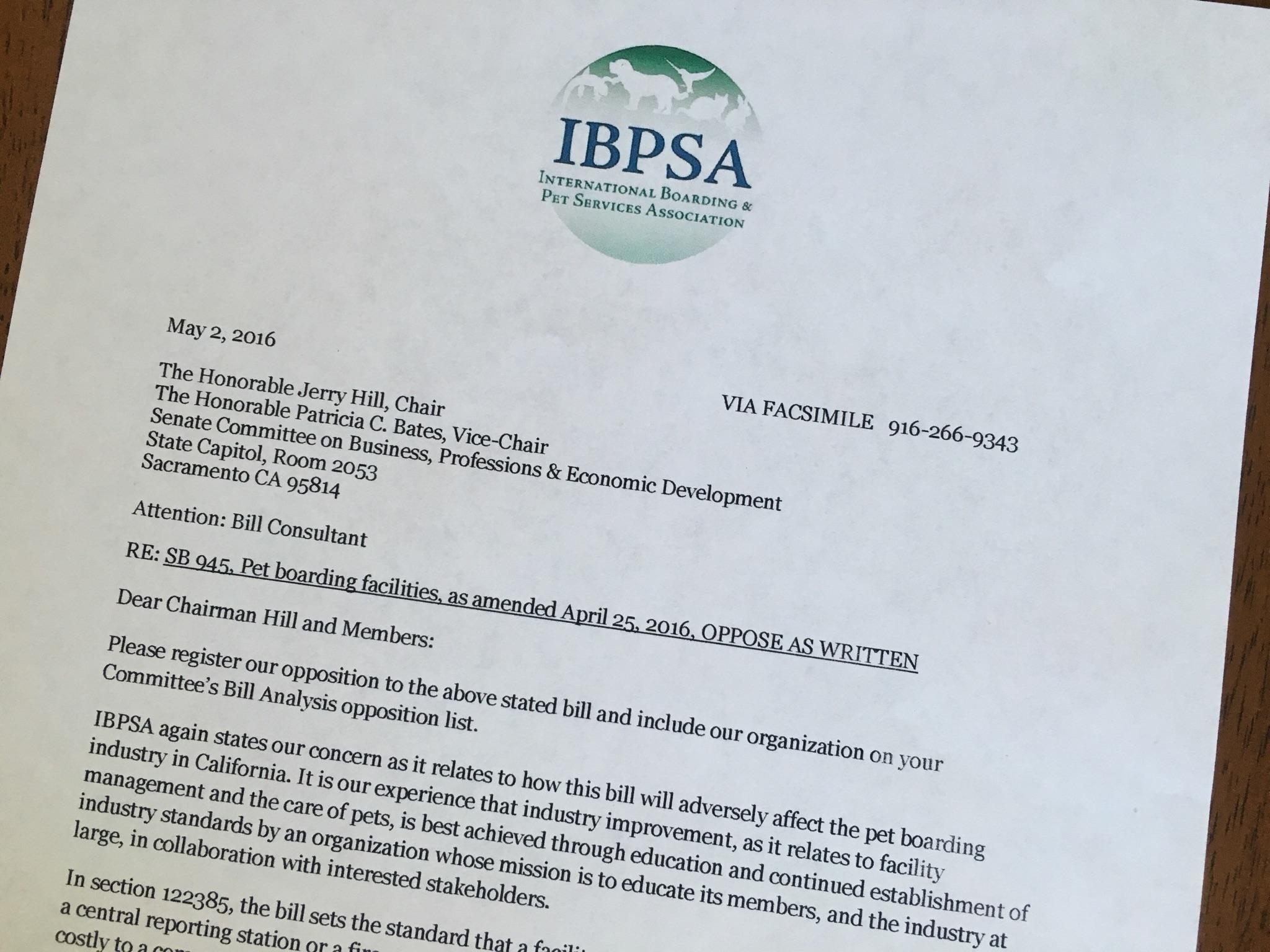IBPSA Cal Senate Bill 945 Opposition