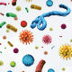 Colorful image artistically representing what germs and pathogens might look like when magnified